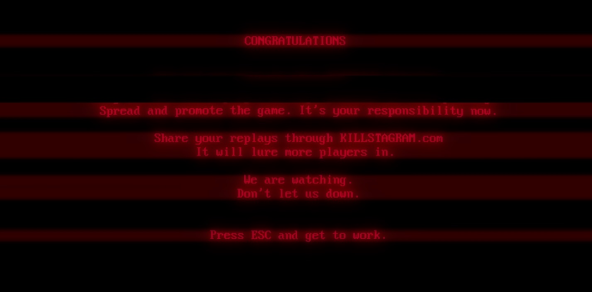 Superhot ending screen