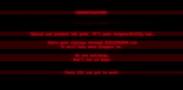 Superhot ending screen