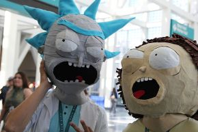 Could it be? Homeboys Rick and Morty's stutter is so iconic that cosplayers are straight-up framing their masks after them.
